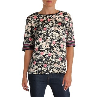 Scotch & Soda Womens Casual Top Floral Print Short Sleeves