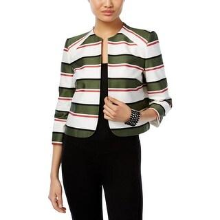 Nine West Womens Open-Front Blazer Striped 3/4 Sleeves Multi 2