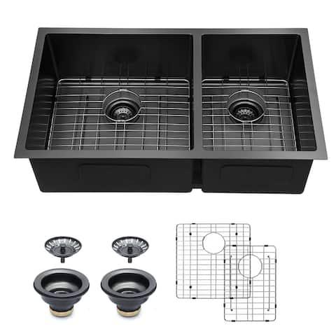 "Lordear 33 inch Gunmetal Black Double Bowl Divide 16 Gauge Undermount 60/40 Stainless Steel Kitchen Sink Basin - 33"" x 19"" x 10"""