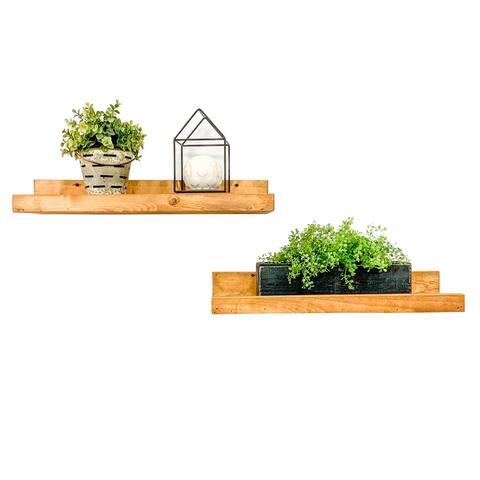 Handmade Rustic Luxe Floating Shelf, Set of 2