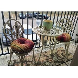 15 Inch Round Outdoor Kinnabari Stripe Bistro Chair Cushions Set Of 2