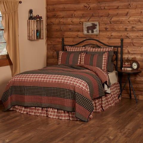 Red Rustic Bedding VHC Beckham Quilt Cotton Striped Patchwork