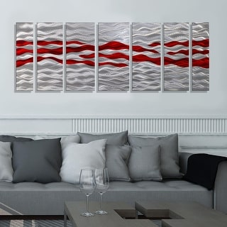 Statements2000 Modern Metal Wall Art Abstract Red Silver Painting by Jon Allen - Caliente