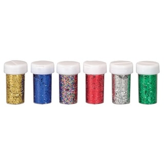 School Smart Craft Glitter with Shaker Tops, 3/4 oz, Assorted Colors, Set of 6