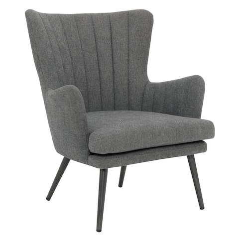 Jenson Accent Chair with Fabric and Grey Legs