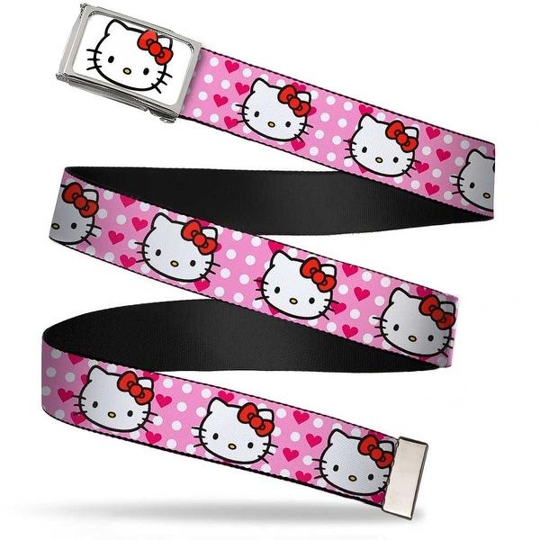 Hello Kitty Face Fcg White Chrome Frame Hello Kitty W Dots & Hearts Web Belt