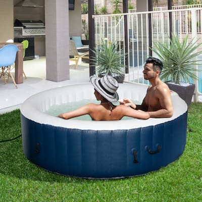 Outsunny 4-6 Person Inflatable Portable Hot Tub Outdoor Round Heated Spa with 130 Jets, Cover, Filter Cartridges