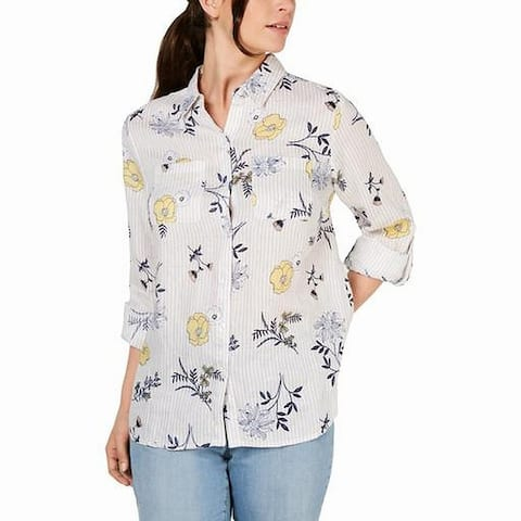 Charter Club Women's Shirt White Size 1X Plus Stripe Floral Button Up