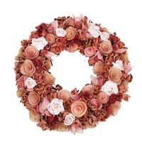 """12.5"""" Pink and Cream Flowers and Leaves Artificial Spring Floral Wreath"""