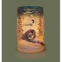 """6"""" Country Rustic Winter Forest Scene with Birds Textured Christmas Votive Candle Holder - BLue"""
