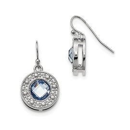 Silvertone Blue Glass Stone Leverback Earrings