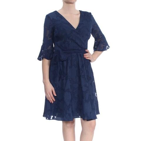 KENSIE Womens Navy Bell Sleeve V Neck Dress Size: 8