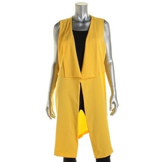 NY Collection Womens Crepe Tunic Casual Vest - L