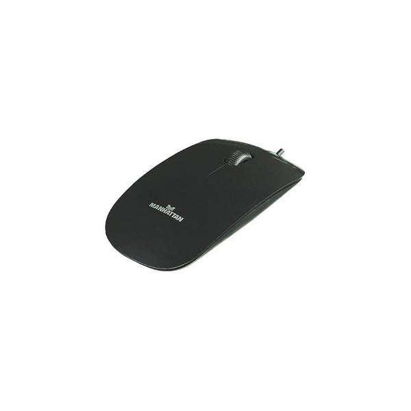 Manhattan Products USB Three Buttons Black Mouse w/ Scroll Wheel- 177658