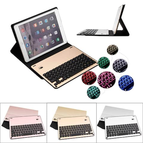 For iPad Pro 10.5 2017 Backlight Bluetooth Aluminum Keyboard+Leather Stand Case