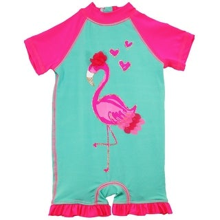 Wippette Baby Girls Flamingo Swimsuit 1-Piece Rashguard Bathing Suit - 9 months