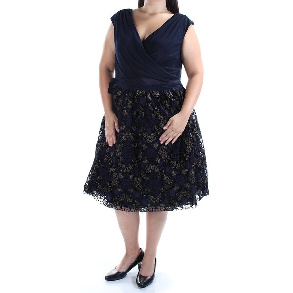 5e8ca468d2b Shop SLNY Womens Navy Glitter Cap Sleeve V Neck Midi A-Line Party Dress  Plus Size  16W - Free Shipping On Orders Over  45 - Overstock - 21392105