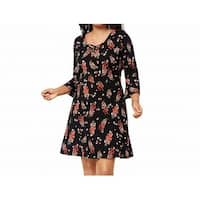 Fox + Royal Black Womens Size 2X Plus Floral Print A-Line Dress
