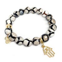 "Black & White Agate Protection Hand Gold Charm Emma 7"" Bracelet"