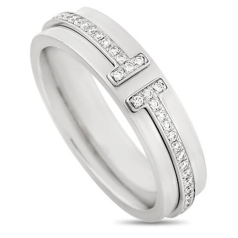 Tiffany & Co.White Gold Diamond Wedding Band Size 4.5