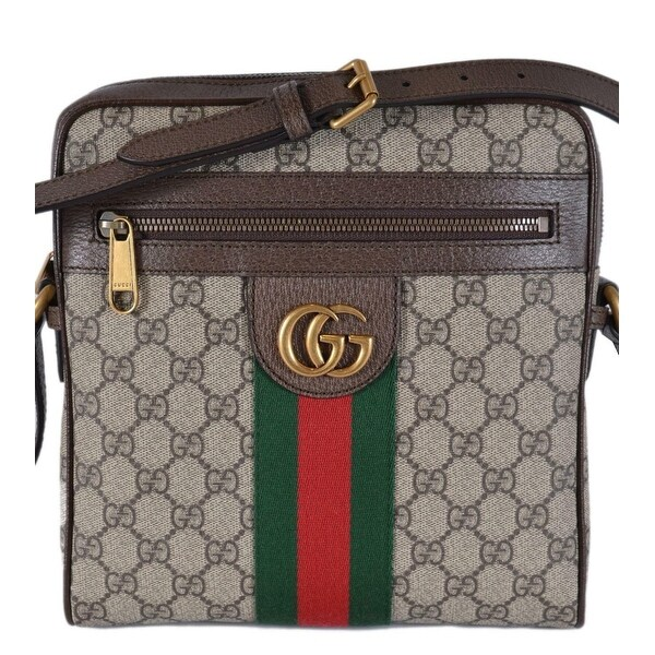 993dd5791075 Gucci OPHIDIA GG Guccissima Marmont Web Green Web Small Messenger Bag -  Beige/Beige/