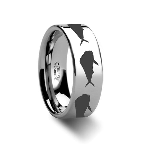 THORSTEN - Mahi Fish Jumping Sea Print Pattern Ring Engraved Flat Tungsten Ring - 12mm