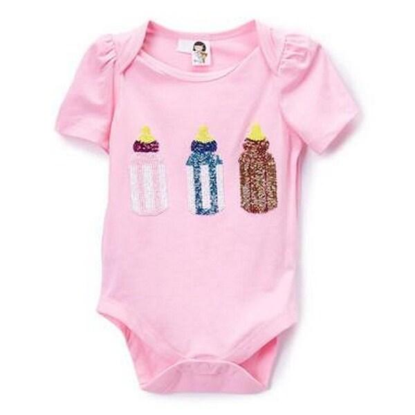 Wenchoice Baby Girls Pink Sequin Bottles One Piece Bodysuit
