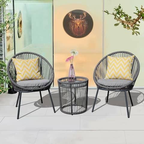 Bistro Wicker 3-piece Patio Set with Cushion