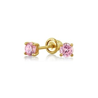Tiny Cubic Zirconia Pink Imitation Pink Topaz CZ Round Solitaire Stud Earrings Real 14K Yellow Gold Screwback