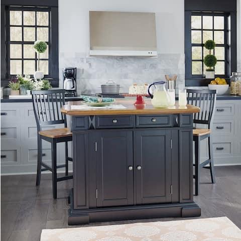 Copper Grove Warwick Black Distressed Oak Finish Kitchen Island and Barstools Kitchen Set