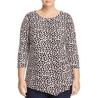 Vince Camuto Womens Plus Blouse Printed 3/4 Sleeves