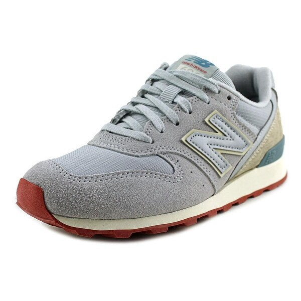 New Balance WL696 Women Round Toe Suede Silver Sneakers