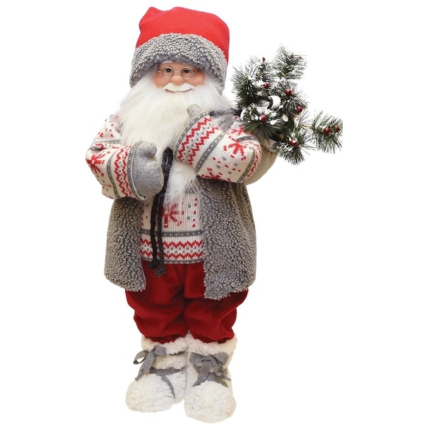 "25"" Santa in Winter Vest with Sack of Pine Christmas Figure Decoration - WHITE"