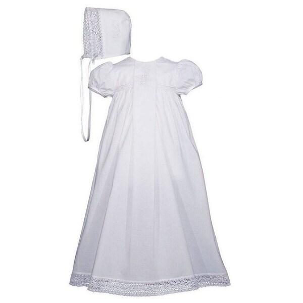 b6e6b249fe6 Baby Girls White Cotton Victorian Style Bonnet Christening Dress Gown