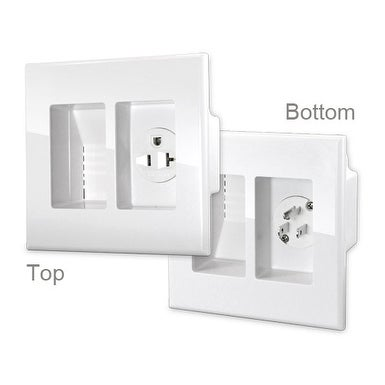 WallBlade by Sewell, Recessed Wall Plate Cable Drop With Power