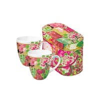 Set of 2 Shinto Garden Floral Porcelain Coffee Mugs with Gift Box - 14 ounces - Pink