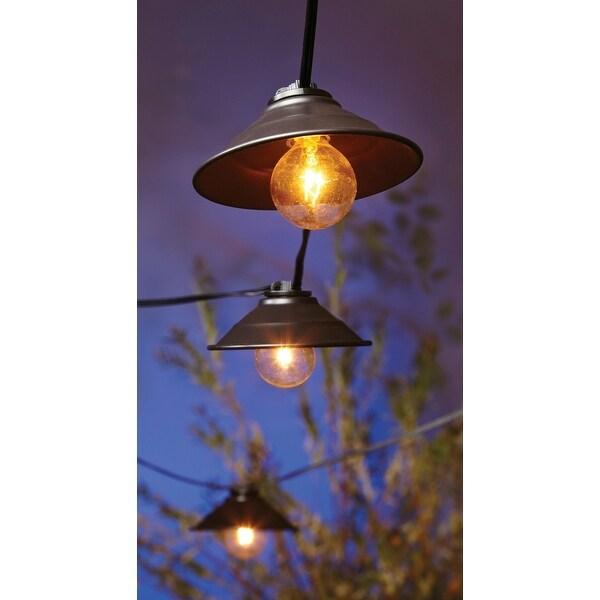 Living Accents 626GA112 Clear Metal Hood Globe Light Set, 9', 10 Lights