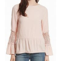 Joie Lace INset Women's Large Peplum Blouse Top