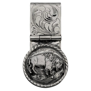 "Vogt Western Men Money Clip Engraved Bison 1 1/4"" Silver 021-364"