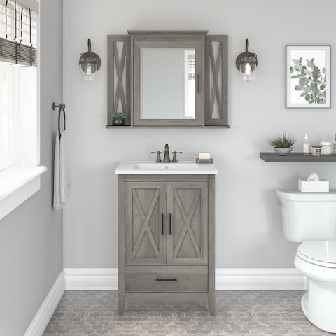 Key West 24W Bathroom Vanity Sink with Mirror by Bush Furniture