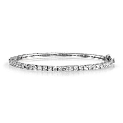 Classic Bridal Prom Tennis Bangle Cocktail Evening Bracelet For Women Cubic Zirconia CZ Silver Tone Plated Brass