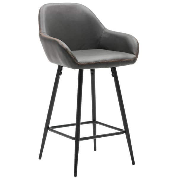 25 Bucket Upholstered Dark Accent Dining Counter Barstool Chair Set Of 2 Overstock 30016860