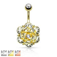 Flower Head with Six Gems and Center CZ Navel Ring
