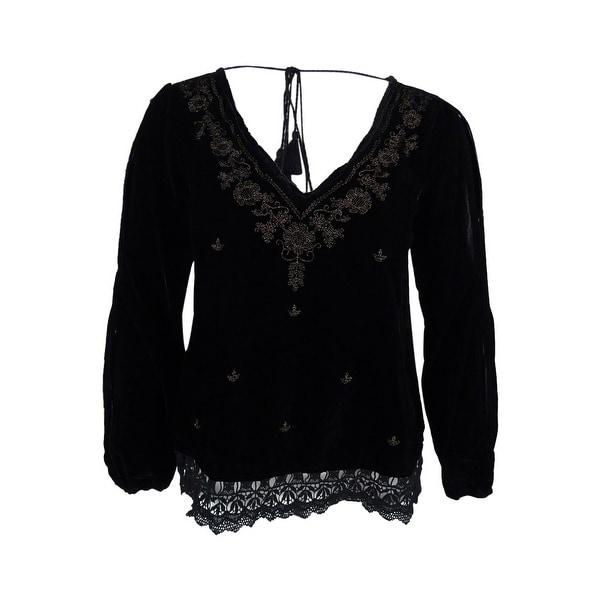 Denim & Supply Ralph Lauren Women's Embroidered Velvet Top - Black