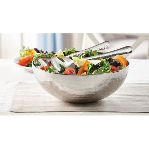 """Salad Bowl Hammered With Servers 3PC Set - 11"""" x 11"""" x 4'5"""""""