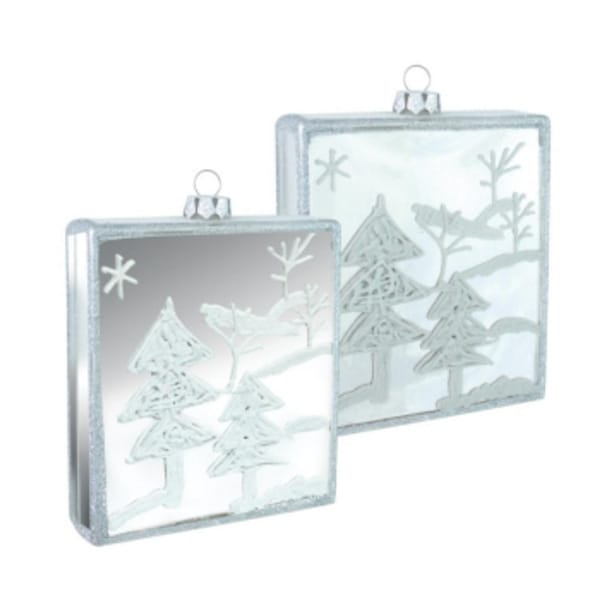 "Pack of 6 Square Winter Tree Scene Glass Christmas Ornaments 3.75"" x 4.25"""