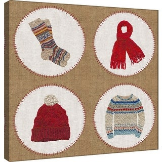 """PTM Images 9-101209  PTM Canvas Collection 12"""" x 12"""" - """"Winter Embroidery Compilation"""" Giclee Winter Badges Art Print on Canvas"""