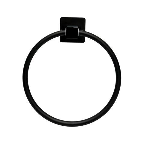 "Stainless Steel Bathroom Towel Ring Hanger Rack Holder Round Black Painting 7"""