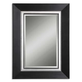 "54"" Black and Silver Leaf Wood Framed Beveled Rectangular Wall Mirror"