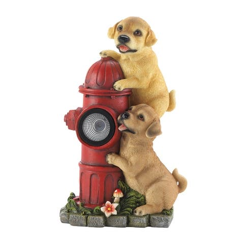 """Dogs and Fire Hydrant Solar Statue 7.25x5x12"""""""